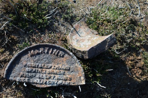 shrapnel from the crater & an iron name plate